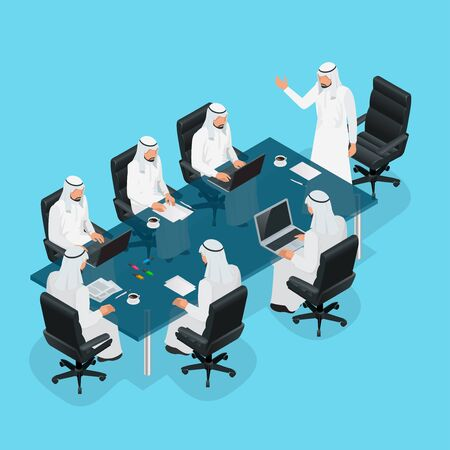 Zakelijke bijeenkomst concept, International Business, Arabische zakenman presentatie van zijn ideeën naar collega's voor succes investeringen in lichte, moderne kantoorruimte. 3d flat isometrische vector illustration