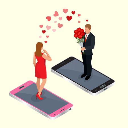 온라인 데이트. 남자와 여자 온라인 데이트 앱 개념입니다. 플랫 3D 벡터 아이소 메트릭 그림. 온라인 인터넷 데이트. 온라인 사랑 개념 일러스트