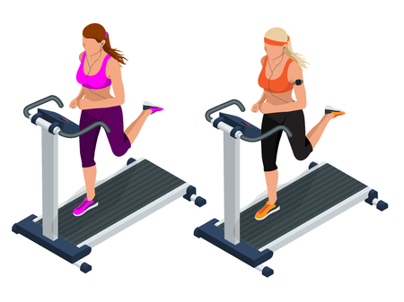 simulator: Woman on a running simulator. Pretty girl working out in a treadmill at the gym. Treadmill.  Flat 3d vector isometric illustration