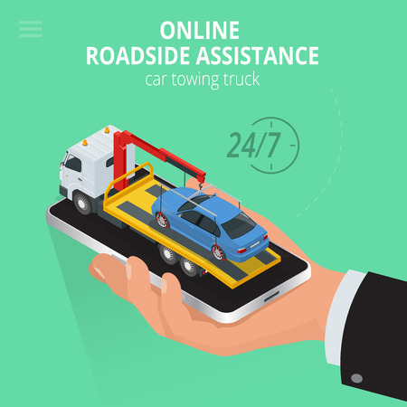 roadside assistance: Car towing truck Online, evacuator Online, Online roadside assistance car towing truck, Business and Service Concept, Flat 3d vector isometric illustration