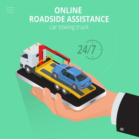 Auto rimorchio camion in linea, di evacuazione in linea, assistenza stradale in linea auto camion rimorchio, business e di servizio concetto, Flat 3d illustrazione isometrica