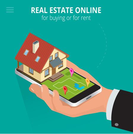 Immobiliare online per l'acquisto o l'affitto. L'uomo che lavora con lo smartphone sta cercando una casa per l'acquisto o l'affitto, utilizzando il servizio di ricerca online. Illustrazione isometrica di vettore 3d piatto