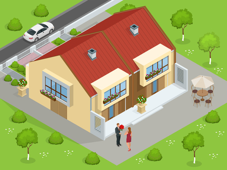 family in front of house: Real estate. Big custom made luxury house with nicely trimmed and landscaped front yard in the suburbs. Flat 3d vector isometric illustration. Flat 3d vector isometric illustration