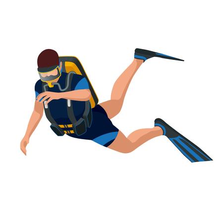 man front view: Scuba diver diving man front view. Scuba diving flat 3d isometric vector illustration. Scuba diver swimming under water Illustration
