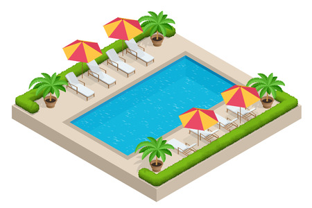 3d swimming pool: Summer travel concept.  Swimming pool, parasol umbrella, beach chairs. Swimming pool Flat 3d isometric vector illustration