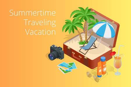 open road: Trip to Summer holidays. Travel to Summer holidays. Vacation. Road trip. Tourism. Travel banner. Open suitcase with landmarks. Journey. Travelling 3d isometric illustration