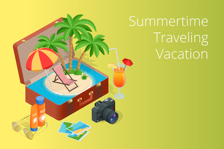 open road: Trip to Summer holidays. Travel to Summer holidays. Vacation. Road trip. Tourism. Travel banner. Open suitcase with landmarks. Journey. Travelling 3d isometric illustration. Illustration