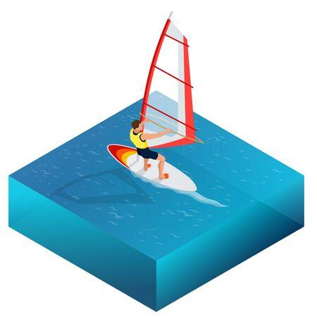 windsurf: Windsurf, Diversión en el océano, Deporte Extremo, icono de windsurf, windsurf plana Vector 3D isométrico