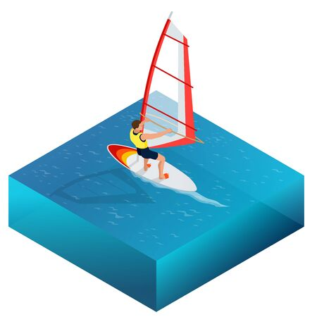 kite surf: Windsurfing, Fun in the ocean, Extreme Sport, Windsurfing icon, Windsurfing flat 3d vector isometric illustration
