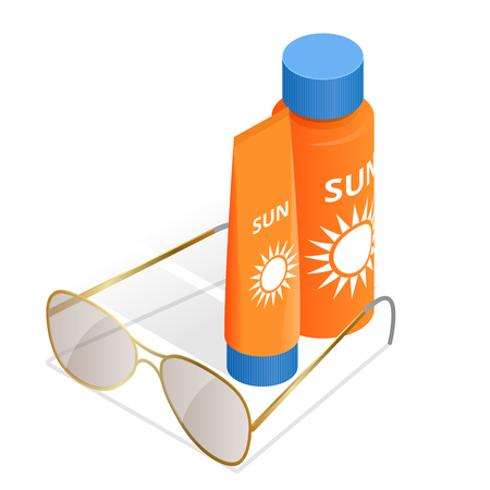 sun tanning: Bottles of sunscreen lotion and sunglasses. Tube container of sun cream isolated on white glossy background. Summer, sun tanning and sunscreen concept