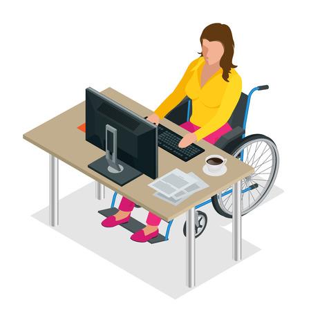 컴퓨터에서 작업하는 사무실에서 휠체어 장애인 여자. 플랫 3D 아이소 메트릭 벡터 일러스트 레이 션입니다. 장애인의 국제 날