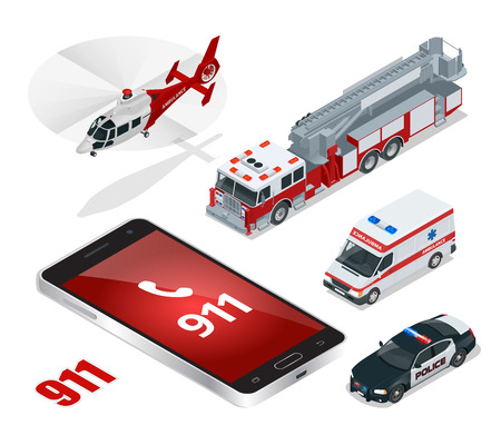car care center: Emergency concept. Ambulance, Police,  Fire truck, cargo truck, helicopter, emergency number 911.  Flat 3d isometric city transport icon set
