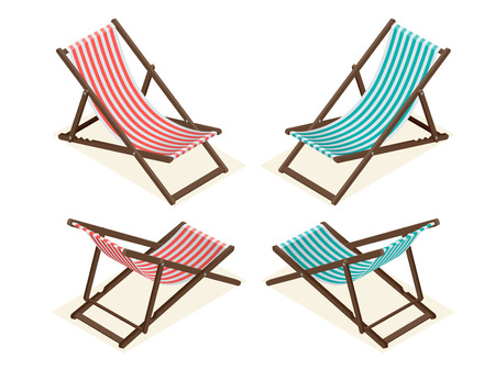 chaise longue: Beach chairs isolated on white background. Wooden beach chaise longue Flat 3d isometric vector illustration