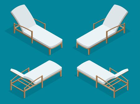 Beach chairs isolated on blue background. Wooden beach chaise longue Flat 3d isometric vector illustration Illustration