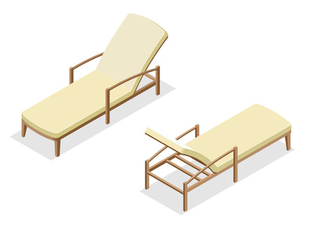 longue: Beach chairs isolated on blue background. Wooden beach chaise longue Flat 3d isometric vector illustration Illustration