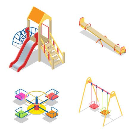 Playground. Playground slide theme elements. Isometric kids playground icons set. Flat 3d vector isometric high quality playground icon set.