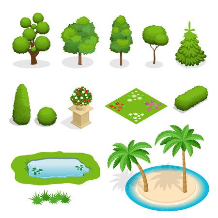 조경 디자인에 대한 등각 투영 평면 벡터 나무 요소입니다. 흰색에 설정 나무의 다양성. 나무, 관목, 꽃, 꽃 침대, 손바닥 그림