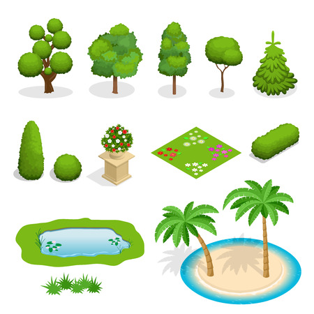 Isometrici piane elementi alberi vettore per il design del paesaggio. La diversità di alberi impostato su bianco. Alberi, arbusti, fiori, aiuola, illustrazione di palma