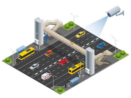 Isometric pedestrian bridge with a lift over the highway. Set of the isometric pedestrian bridge with a lift, bus, sedan, taxi, cargo, mini, ambulanse and bus stop. Vector illustration Иллюстрация
