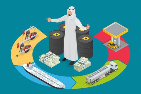 tank car: Arab oil tycoon. Metal oil barrel. Oil, petroleum, tank car, tanker. Oil industry business. Flat 3d isometric infographic vector illustration