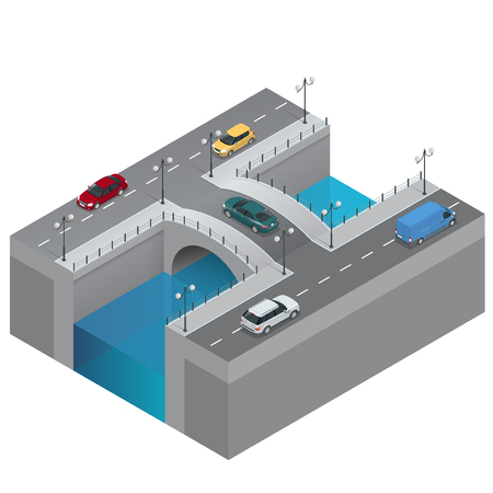 bridging the gap: Road and bridge over the river. City traffic. Bridge flat 3d isometric vector illustration. Isometric bridge over the river. Commercial transport. Various types of load and cargo