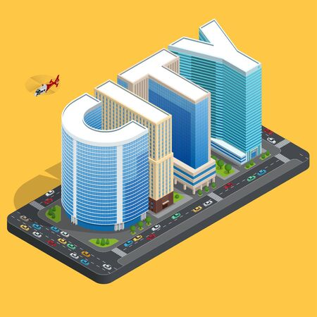 city background: Modern high quality city building. Isomeric flat city center concept. City skylines background vector illustration. Business center building