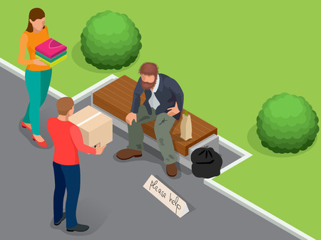 man holding sign: Caring for homeless. Help Homeless. Dirty homeless man holding sign asking for help. Flat 3d isometric vector illustration. Social problem concept. Volunteers design concept