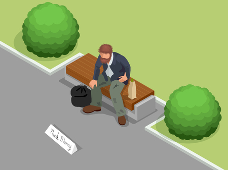 man holding sign: Homeless. Dirty homeless man holding sign asking for help. Flat 3d isometric vector illustration. Social problem concept