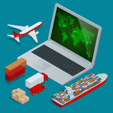 consolidation: Global logistics network Web site concept Flat 3d isometric vector illustration. On-time delivery Vehicles designed to carry large numbers cargo