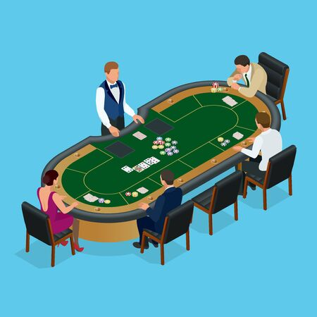 wining: People playing poker in the casino, gambling. Isometric vector Group of young people playing poker in a casino vector illustration
