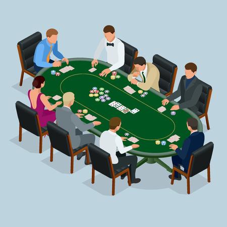 カジノでポーカーをプレイする人々 のギャンブルします。等尺性ベクトル ポーカー カジノのベクトル図に若い人たちのグループ