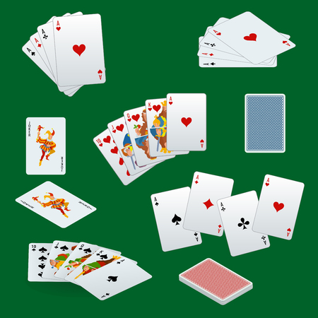 playing card set symbols: A royal straight flush playing cards poker hand in hearts. Poker cards set. Playing cards set