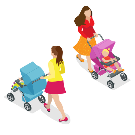 sitter: Beautiful mother on walking with baby in stroller. Isometric 3d vector illustration. Woman with baby and pram isolated on white.