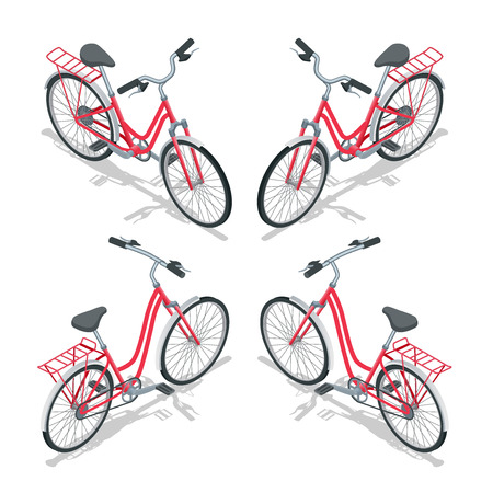 bycicle: Isometric flat womens bicycle. Stylish womens pink bicycle isolated on white background. Vector bicycle illustration
