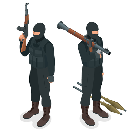 police unit: Spec ops police officers SWAT in black uniform. Soldier, officer, sniper, special operation unit, SWAT flat 3d isometric illustration. Soldier with AT rocket launcher Illustration
