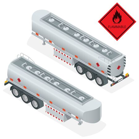 tanks: Fuel gas tanker truck isometric illustration. Truck with fuel 3d vector. Automotive fuel tanker shipping fuel. Oil Truck isometric vector. Fuel tanker truck Illustration