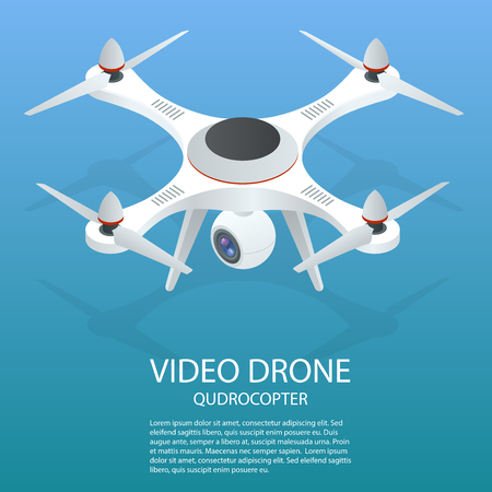 Drone isometric. Drone  . Drone quadrocopter 3d isometric illustration. Drone with action camera icon.
