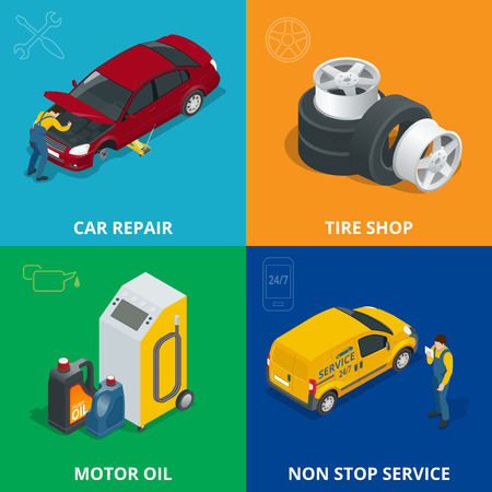computer repair concept: Auto mechanic design concept set with car repair service, auto service computer car diagnostic. flat icons isolated vector illustration Illustration
