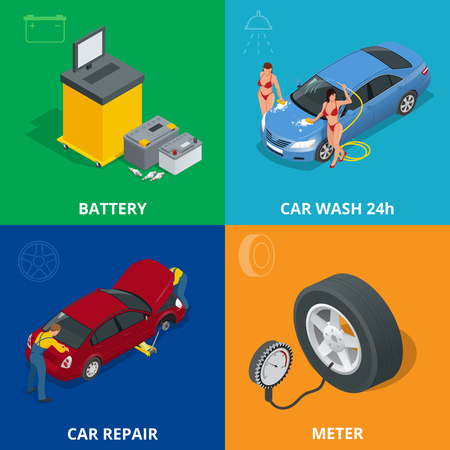 tire cover: Auto mechanic design concept set with car repair service, auto service computer car diagnostic. flat icons isolated vector illustration.