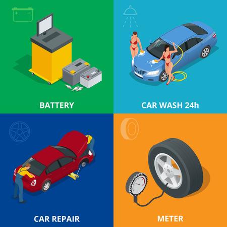 auto service: Auto mechanic design concept set with car repair service, auto service computer car diagnostic. flat icons isolated vector illustration.