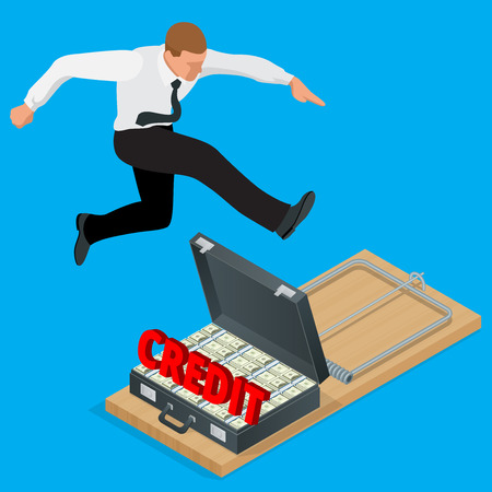 metaphoric: Businessman trying to avoid credit finance banking. Style money isometric. Credit loan trap concept. Mousetrap with Lot of money in a suitcase. Flat 3d isometric business concept.