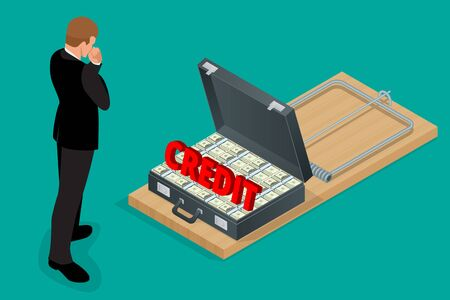 lean over: Businessman thinking about credit. Style money isometric. Credit loan trap concept. Mousetrap with Lot of money in a suitcase.