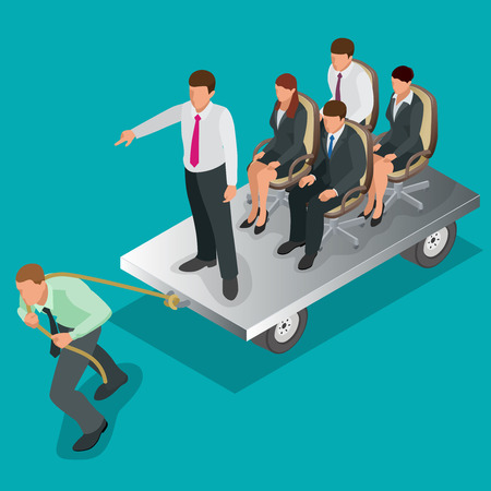 tug of war: Team work. Business concept. Group of people, team pulling line, playing tug of war. Flat 3d isometric vector illustration