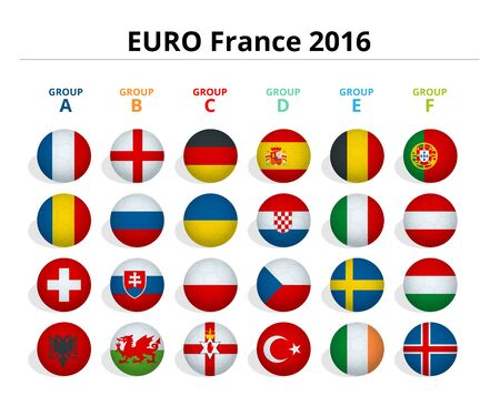 championship: Euro 2016 in France. Flags of European countries participating to the final tournament of Euro 2016 football championship. Illustration