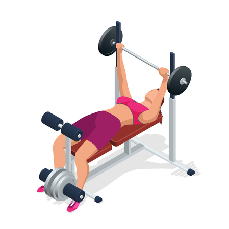 flexing muscles: Young woman with barbell flexing muscles in gym. Gym adjustable weight bench with barbell isolated on white background. Illustration