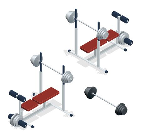adjustable dumbbell: Gym adjustable weight bench with barbell isolated on white background. Flat 3d isometric  illustration