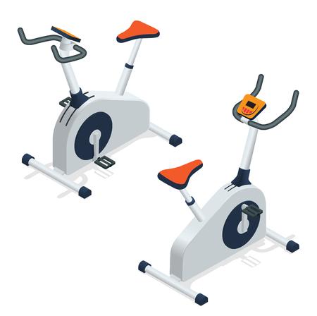 aerobics class: Exercise bike isolated on white background. Exercise bike icon. Flat 3d isometric  illustration Illustration