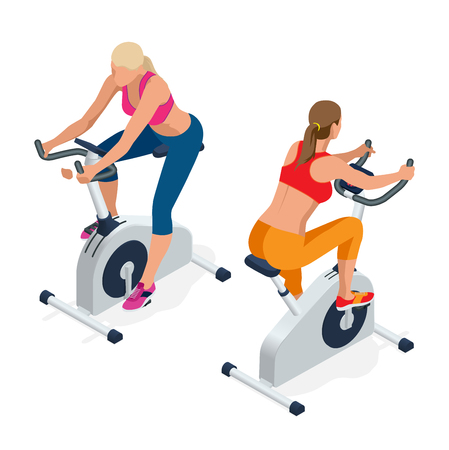 Fitness woman working out on exercise bike at the gym. Isolated on white background. Doing sport biking in the gym for fitness. Flat 3d isometric illustration