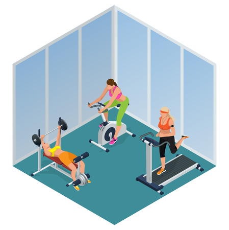 Fitness woman working out on exercise bike, Young woman with barbell flexing muscles,  Pretty girl working out in a treadmill at the gym. Flat 3d isometric illustration
