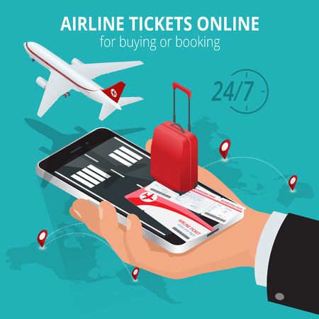 business travel: Airline tickets online. Buying or booking Airline tickets. Travel, business flights worldwide. Online app for tickets order. Internation  flights. Flat 3d isometric vector illustration